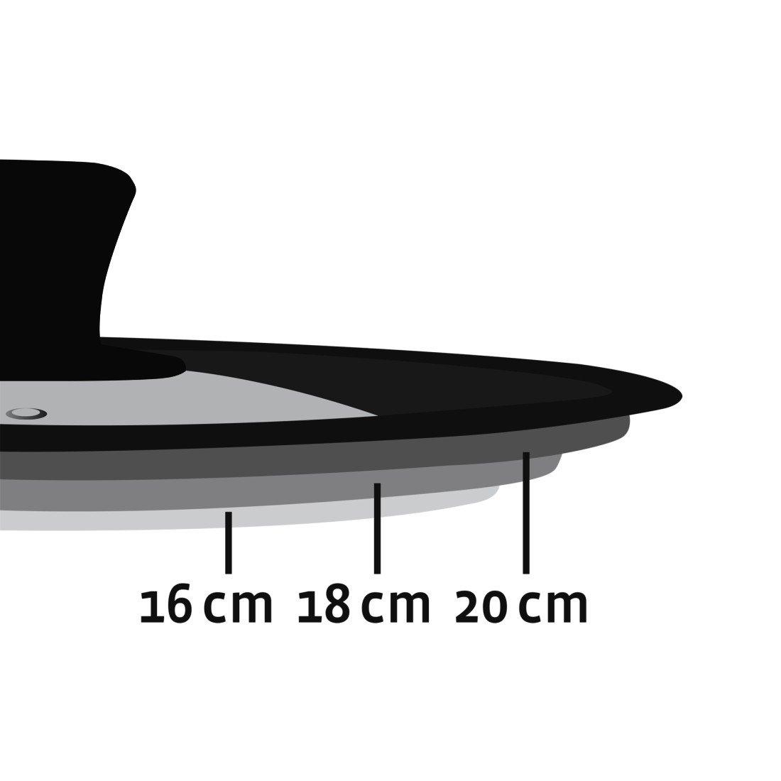 Xavax Universaldeckel Silikonring f/ür T/öpfe und Pfannen mit 16, 18 und 20 cm Durchmessser, Dampfloch, abgestuftes Randdesign, Glas, sp/ülmaschinengeeignet, platzsparend