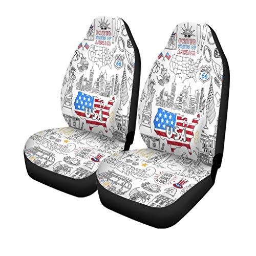 Pinbeam Car Seat Covers USA Outline United States of America Popular Symbols Set of 2 Auto Accessories Protectors Car Decor Universal Fit for Car Truck SUV (Distance San Francisco To Las Vegas By Car)