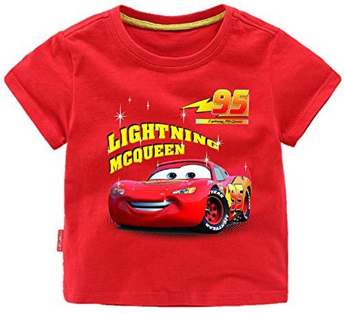 Toddler 2-8Years Boys' Lightning McQueen 95 Cars Short Sleeve T-Shirt(Red, 3T)