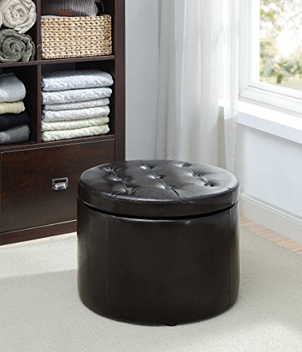 (Convenience Concepts 161546B Designs4Comfort Round Shoe Ottoman, Black)