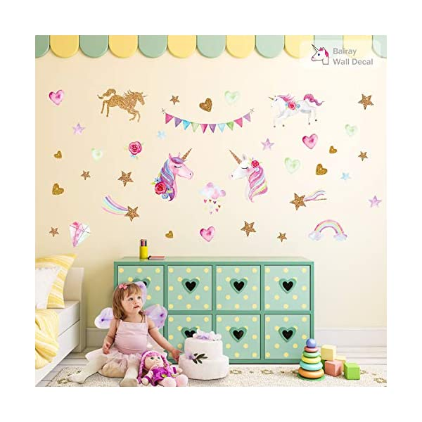 Unicorn Wall Decal,66pcs Unicorn Wall Decor Stickers Decals for Kids Rooms Gifts for Girls Boys Bedroom Nursery Home Party Favors 7