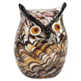 Glass Animal Paperweights Figurine - Swirl Owl Design