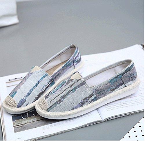 Ein Pedal faul Schuhe Dame atmungsaktive Segeltuchschuhe beiläufige weiße Brettschuh-Kursteilnehmerart und weise flache Schuhe ( Farbe : Blau , größe : 36 ) Grün