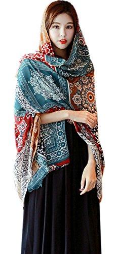 Women's Boho Bohemian Soft Blanket Oversized Fringed Scarf Wraps Shawl Sheer Gift (14)