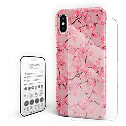 - YEHO Art Gallery Christmas Phone Case Protective Design Hard Back Case,Pink Cherry Blossoms Floral Painting,Phone Covers with Screen Protector for Girls Boys,iPhone X