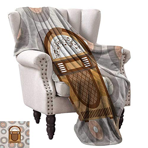 WinfreyDecor Jukebox Blanket Sheets Pick Up Music with Vintage Abstract Long Players Backdrop Ultra Soft and Warm Hypoallergenic 30