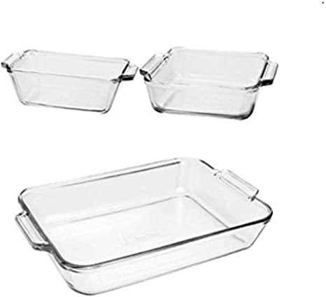 Amazon Com Anchor Hocking Oven Basics 3 Piece Glass Bakeware Set With Square Cake Rectangular And Loaf Baking Dishes Bakeware Sets Kitchen Dining