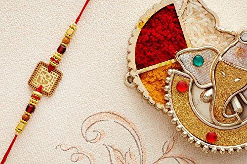 Designer Rakhi Thread for Brother Bhaiya Traditional Rakshabandhan Rakhee Bracelet (Design 4) by Eximious India Rakhi