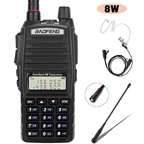 BaoFeng Radio UV-82+ 8W Handheld Dual Band VHF/UHF Two Way Ham Radio Rechargeable Long Range Walkie Talkies for Adults with Gamtaai NA-771 Telescopic Antenna &Acoustic Tube Earpiece (Black) (Best Dual Band Ham Radio)