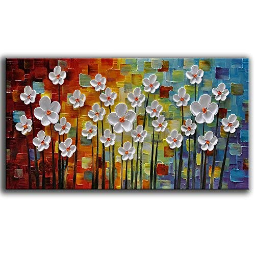 YaSheng Art - 100% Hand Painted Art Beautiful Colorful Oil Paintings On Canvas Abstract Art Texture Flowers Paintings Home Interior Decor Picture Canvas Wall Art Painting (24x48inch)
