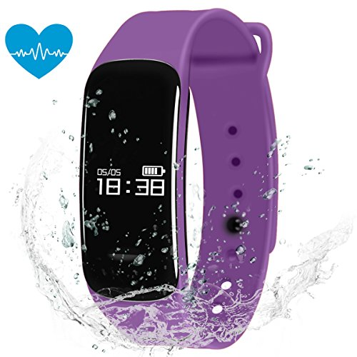 Padcod New C1 Fitness Tracker,Pedometer Sleep Quality Monitor Sedentary Reminder Heart Rate Test Blood Oxygen Detector,IP67 Water-resistant Smart Bracelet (Purple) - Bosch Cpu