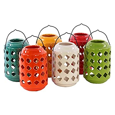 Benzara Large Ceramic Tea Light Lantern with Metal Handle - Set of 6