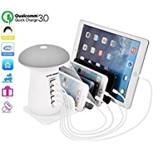 Multiple USB Charger Station Charging Organizer 3in1 5 Power Port LED Mushroom Light for iPhone x 8 7 6 Smartphones,Tablets etc Other Cell Phone USB Hub Stand Charging Docking Station