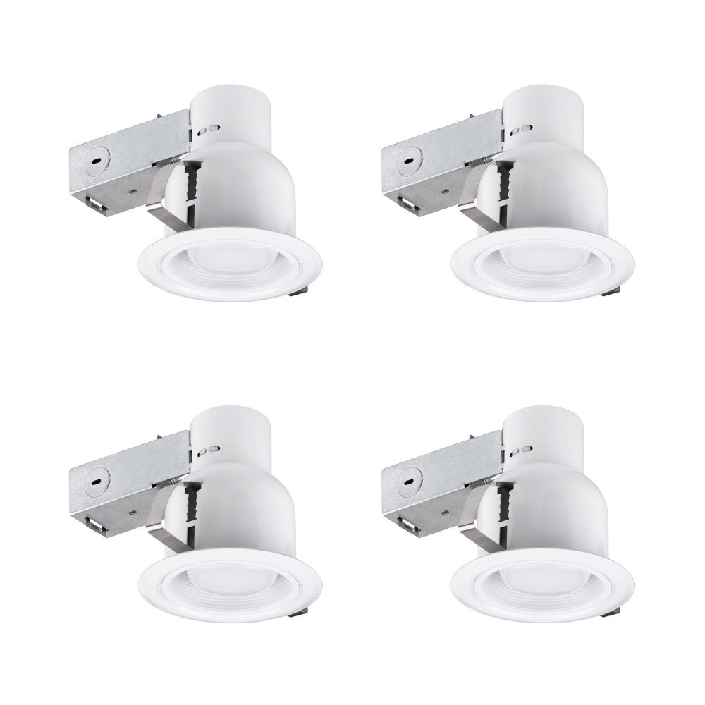 Globe Electric 4'' Rust Proof Indoor/Outdoor Ridged Baffle Recessed Lighting Kit, 4-Pack, Dimmable Downlight, White Finish, 90958