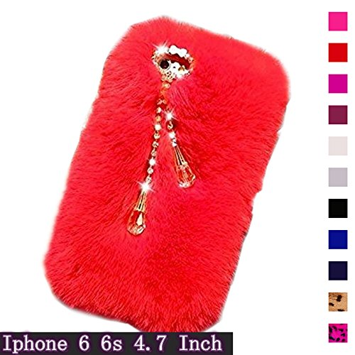 IPhone 6 6S Red Furry Case, Fast Jewelry Soft Warm Fluffy Fur Case New Designed with Bling Diamond Crystal Bow and Pendant for iPhone 6 6S 4.7 Inch