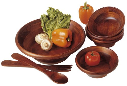 Lipper International 290-7 Cherry Finished Round Rim Serving Bowls with Server Utensils, 7-Piece Set, Assorted Sizes (Salad Long Set)