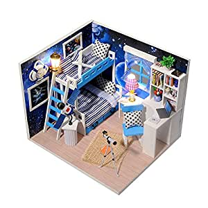 BEAUTY'S CASTLE DIY Dream Of Space Wooden Dollhouse LED Lights Miniature Assembly Furniture Kit 3D Puzzle Crafts Toy And Wooden Frame For Creative Kid Birthday Gifts