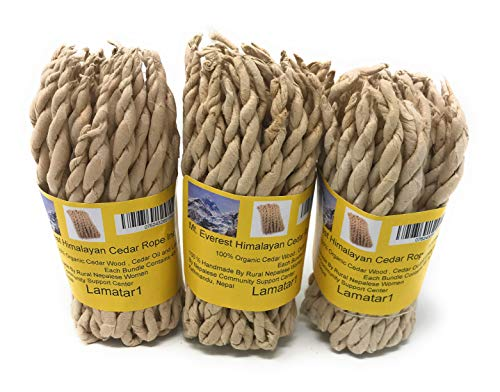 (Nepali to nepali Mt.Everest Himalyan Cedar Rope Incense Roll of 3x45 Rope=135 Rope Founded by Buddhist Monk Dr. Umesh Lama in 1981)