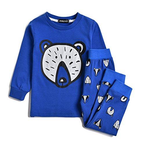 - FERENYI Children Pajamas Cotton Kids Clothes Toddler Sleepwear Clothes T Shirt Pants Set For Kids (Blue, 3T)