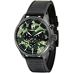 Meister Watches / MSTR Watches Men's Aviator Watch | AV106BS | Black & Black | Stainless-Steel Case And Leather Band (B: Scott Limited Edition)