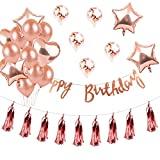 Rose Gold Confetti Balloon Set 4 X Pentagram Aluminum Balloon 2 X Heart Balloon 2 X Latex Balloon 2 X Confetti balloon 2 X Happy Birthday Pull Flag 10 X Fringe Birthday Wedding Decoration Gessppo