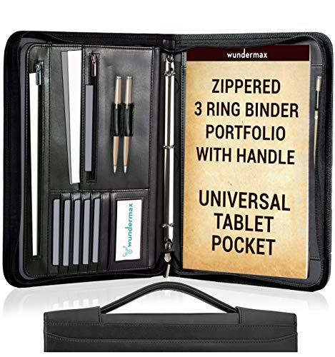 Wundermax Portfolio Binder A Zippered Padfolio with Handle & 3 Ring Binder Document Organizer Briefcase Professional PU Leather Folder Resume Holder for Work with Notebook and 10.1 Inch Tablet Sleeve ()