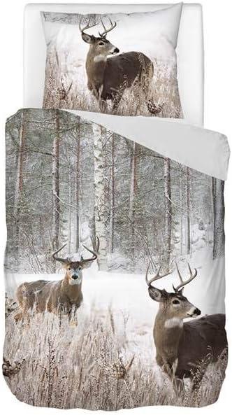 Grau Baumwollsatin Snoozing Whitetaile 1 Kissenbezug 60x70 cm 140x200//220 cm Bettw/äsche