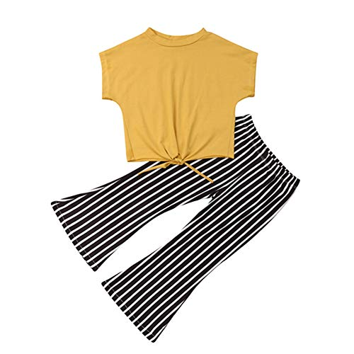 (Fashion Toddler Kids Baby Girls Striped Bell Bottom Outfit Yellow Crop Top Shirts and Flare Pants Set Summer Clothes 3-4T)