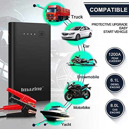 Imazing Car Jump Starter 1000A Peak 8000mAh with Type-C Port(Up to 7.0L Gas or 5.5L Diesel Engine), 12V Portable Power Pack Auto Battery Booster with LCD Display Jumper Cables, QC 3.0 and LED Light by Imazing (Image #2)