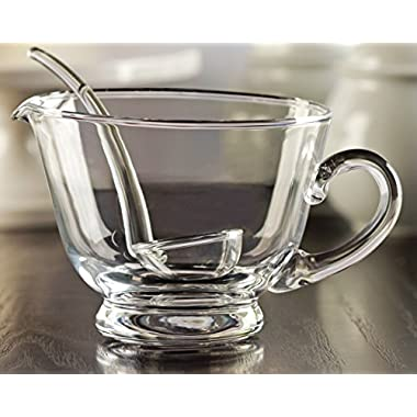 Circleware Glass Gravy Boat with Ladle, 24 Ounce, Limited Edition Glassware Serveware Set