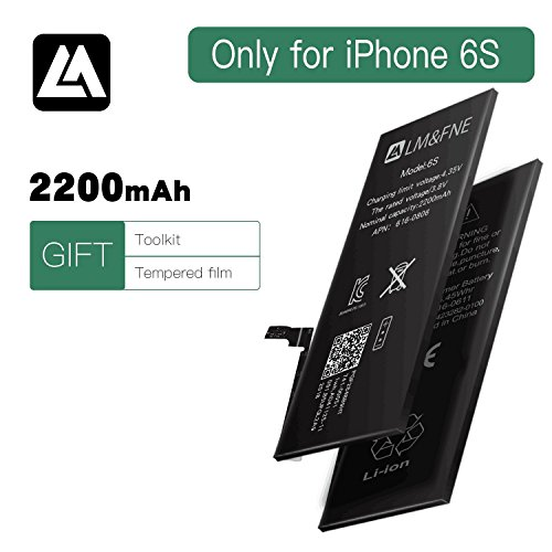 high capacity iPhone 6s battery With Repair Tool Kits & HD steel filmHigh-Capacity 2200 mAh 0 Cycle Replacement high density iphone Battery(only for iphone 6s) by LM&FNE