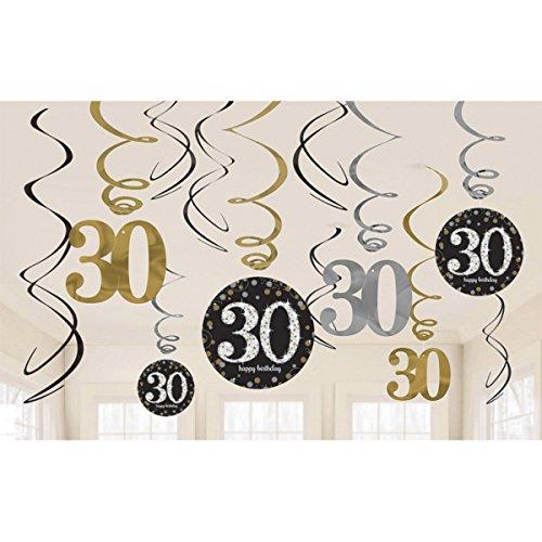 Amscan Party Supplies Sparkling Celebration 30 Value Pack Foil Swirl Decorations (12 Piece), Multi Color