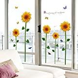 EMIRACLEZE Christmas Gift Hot Sale Beautiful Sunflower Floral Removable Mural Wall Stickers Wall Decal for Window Decor Living Room Home Decor
