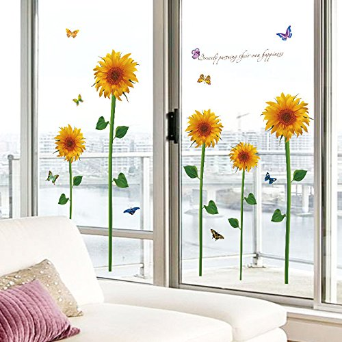 EMIRACLEZE Christmas Gift Hot Sale Beautiful Sunflower Floral Removable Mural Wall Stickers Wall Decal for Window Decor Living Room Home - Shopping Sale In India Online