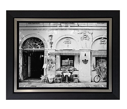 Jplo9|#Jp London BWFCNV2392 1.5 Inch Thick Black & White Gunmetal Double Framed Canvas Paris Bistro Street Champs Dream at 28In by 23In