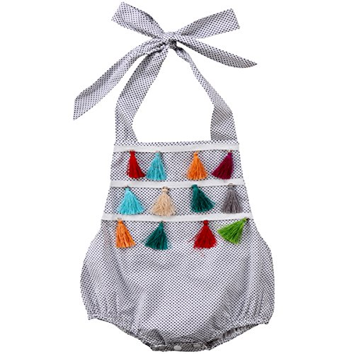 Newborn Baby Girls' Ruffles Polka Dots Romper Tassel Dress One-Piece Bodysuit (White, 12-18 (Infant Bright White Apparel)