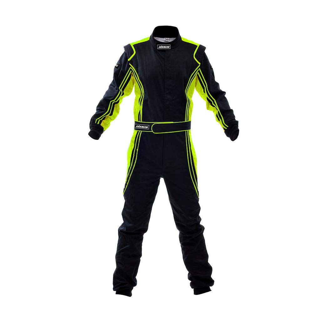 jxhracing RB-CR014 One Piece Auto Go Karts Racing Suit-SFI rated (Small, Fluo Yellow) by J-racing