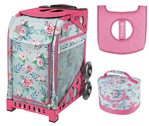 Zuca Sport Bag - Blooms with Gift Lunchbox and Seat Cover (Pink Frame) by ZUCA