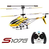 LeaningTech x Syma S107G 3CH RC Radio Mini Alloy Remote Control Helicopter with Gyro Genuine Yellow