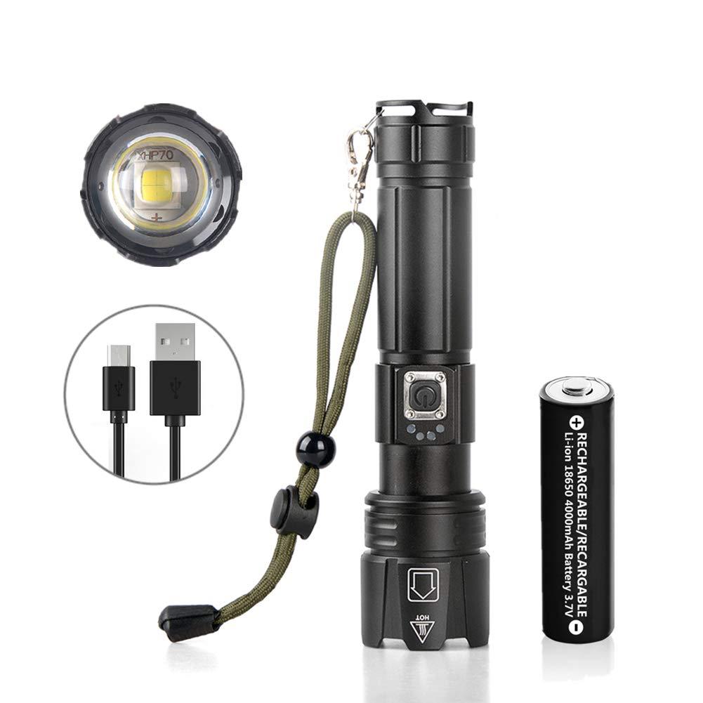 18650 bater/ía recargable incluida JaxTec Linterna 5 modos P70 LED linterna con cargador USB super brillante 3400 l/úmenes potente linterna t/áctica de mano para camping senderismo