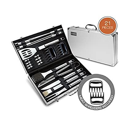 21 Piece BBQ Tools Set - Barbecue Accessories With Carrying Case - Pro Grade Stainless Steel Grill Utensils Plus Bonus Pulled Meat Shredder Claws - by Vysta