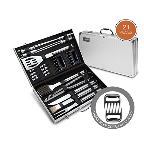 21 Piece BBQ Tools Set - Barbecue Accessories With Carrying Case - Pro Grade Stainless Steel Grill Utensils Plus Bonus Pulled Meat Shredder Claws - by ()