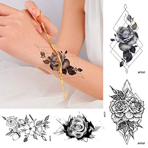 Geometry Rhombus Temporary Women Tattoo Flower Sexy Rose Black Body Art Painting Tatoos Diy Water Transfer Fake Tattoo Stickers 10.5X6Cmx8Pc