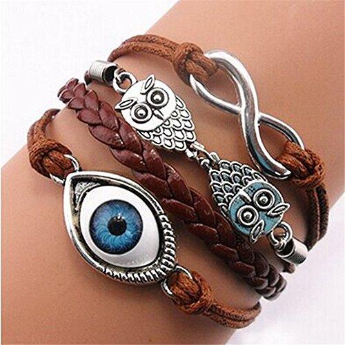 Botrong Bracelet, Handmade Adjustable Owls Eye 8 Multilayer Leather Wristband ()