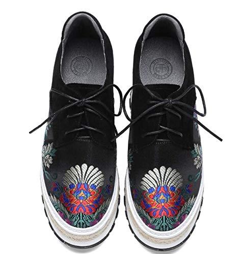 Jincosua Estilo Plataforma Mujer Casuales Negro Tamaño color Zapatos Chino 35 De Bordados rqwtrYE