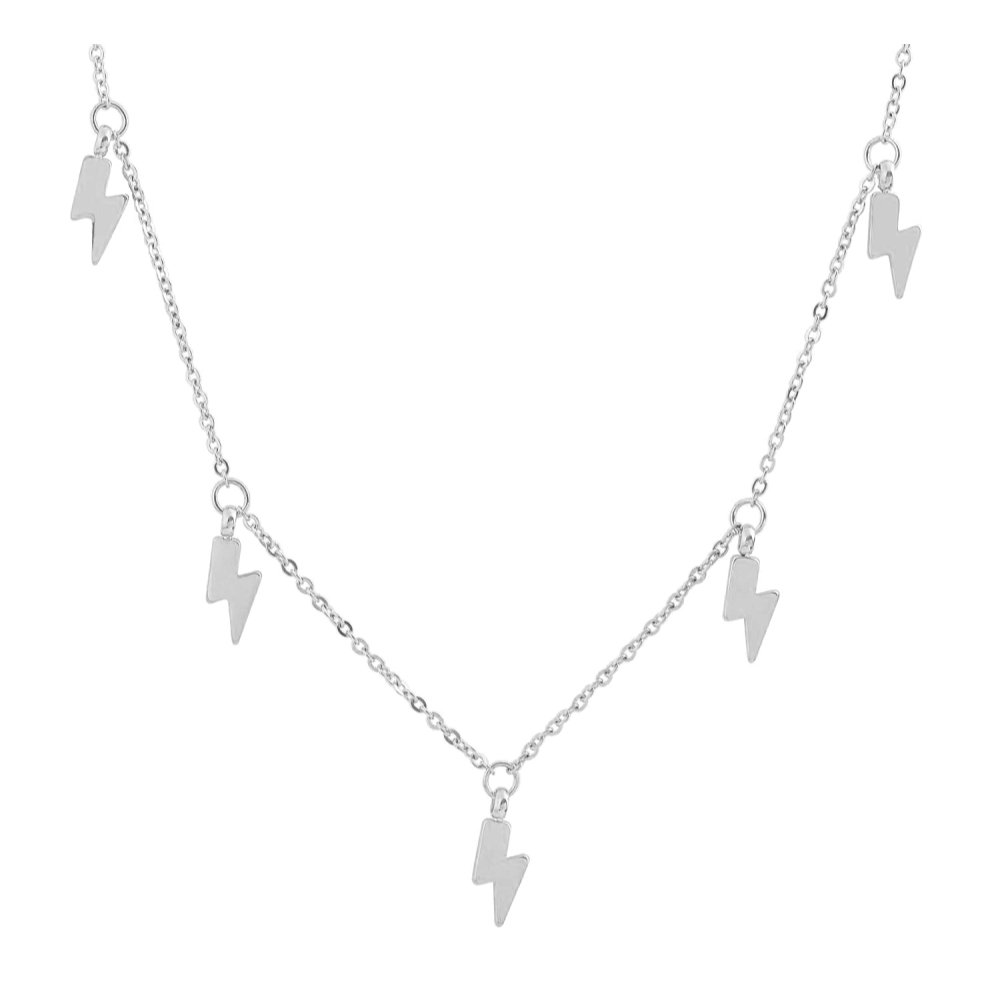 Edforce Stainless Steel Lightning Bolt Pendant Necklace, 15''+2'' Extender