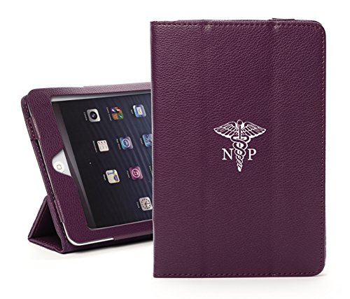 For Apple iPad Mini 4 Faux Leather Magnetic Smart Case Cover NP Nurse Practitioner Caduceus (Purple)