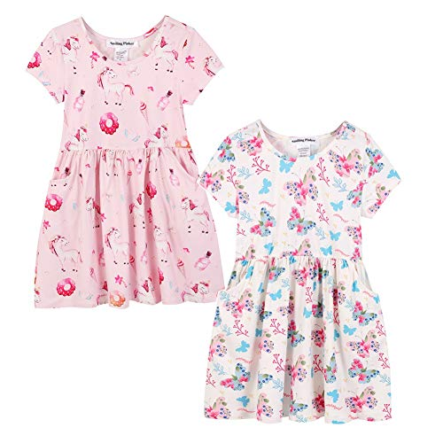 SMILING PINKER Girls Unicorn Dress 2-Pack Short Sleeve Casual Dresses with Pockets (Blue and Pink, 5)