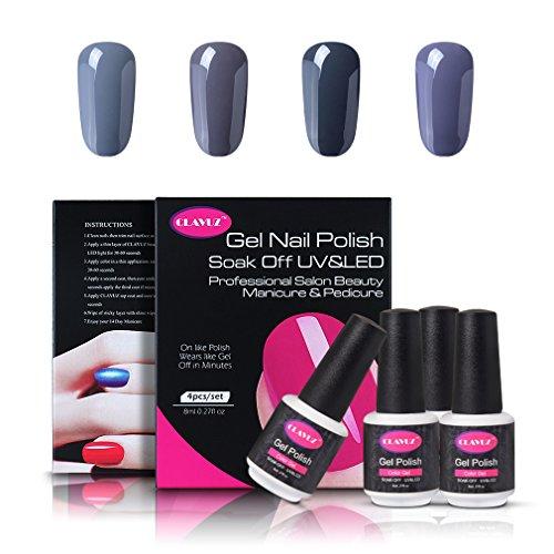 CLAVUZ Gel Nail Polish Set 4pcs Gray Soak Off Gel Nail Lacquer Nail Art Manicure Pedicure New Starter Gift Kit