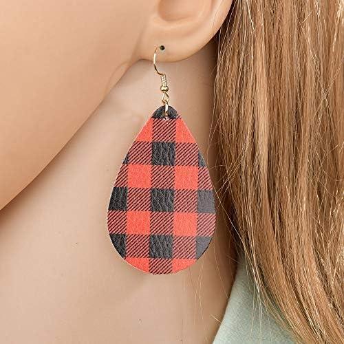 Picnic Earrings Leather Earrings Red Earrings Womens Earrings Plaid Earrings Faux Leather Earrings